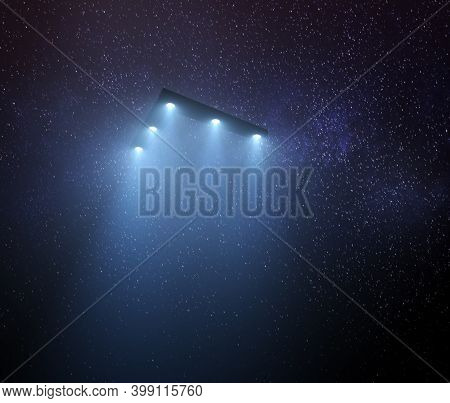 Unidentified Flying Object At Night With Fog And A Light Below. Triangular Ufo, 3d Illustration.