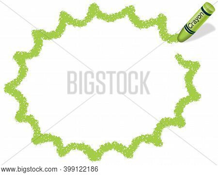 Yellow Green Vector Jagged Ellipse Crayon Frame Isolated On A White Background. Vector Illustration.