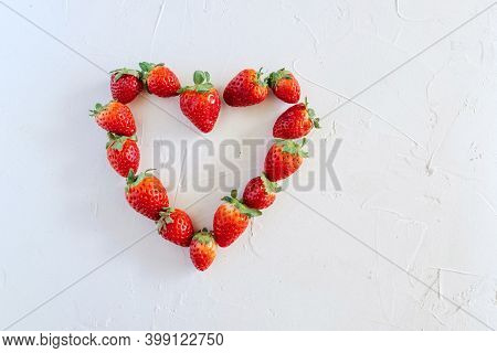 Fresh Ripe Berries, Strawberries,  Copy Space Background, Summer Fruits, Harvest Concept, Vitamins F