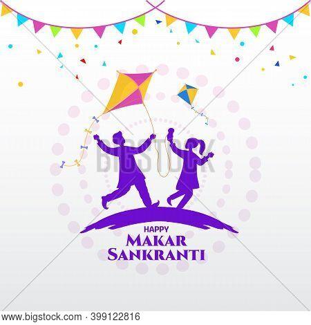 Happy Makar Sankranti Greeting Card. Indian Boy And Girl Playing Kite Celebrating Makar Sankranti Fe