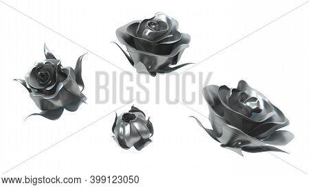 Metal Rose Element Flower Unfold Decoration Isolated, 3d Illustration, Horizontal