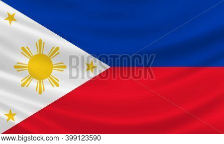 Philippines Flag Waving In The Wind Vector Illustration