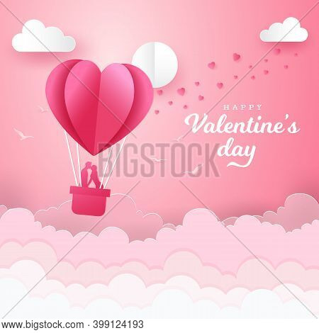 Valentine's Day Background With Romantic Couple Kissing And Standing Inside A Basket Of An Air Ballo