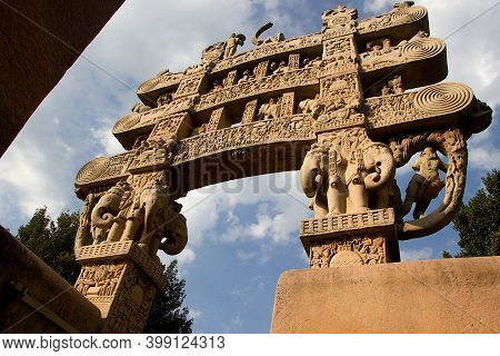 Backside View Of Stone Torana At Entrance Of Stupa In Sanchi, Near Bhopal, Madhya Pradesh, India, As