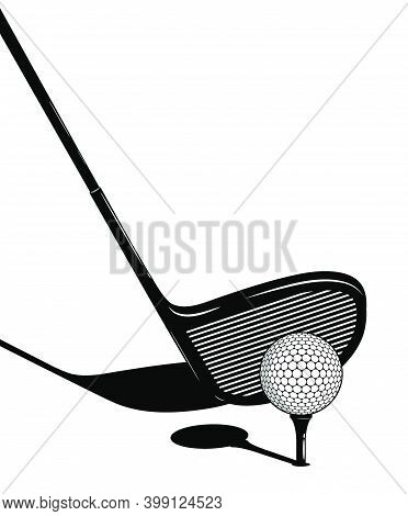 Golf Club Behind The Ball On Tee. Golfer Takes Aim For Precise And Powerful Shot. Sport Competition.