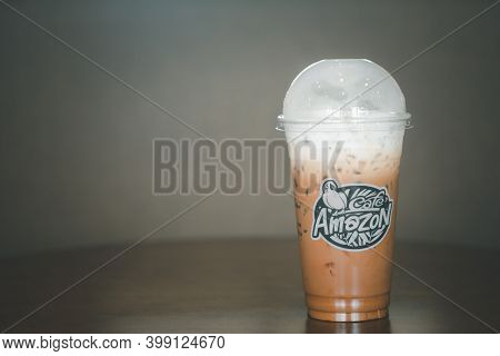 Bangkok, Thailand - December 12, 2020 : Iced Mocha Coffee With Milk Of Amazon Brand On A Table At Am