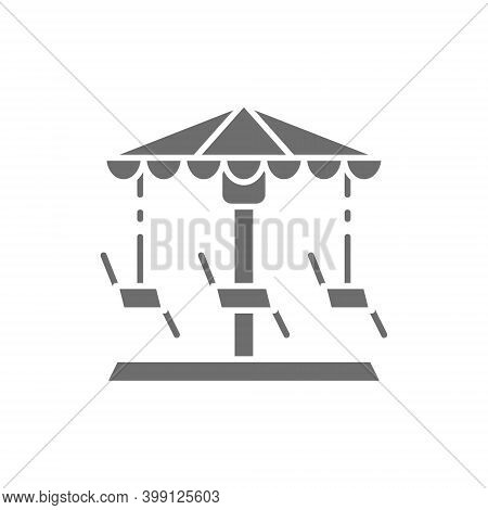 Merry-go-round, Carousel, Swing Grey Icon. Isolated On White Background