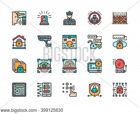 Set Of Security Color Line Icons. Police, Protection, Cryptography And More.