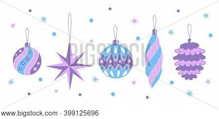 Set Of Christmas Decorations In Lilac And Blue