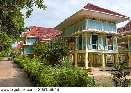 Hua Hin, Thailand - December 11, 2018: At The Royal Palace Mrigadayavan (teak Palace). Surroundings