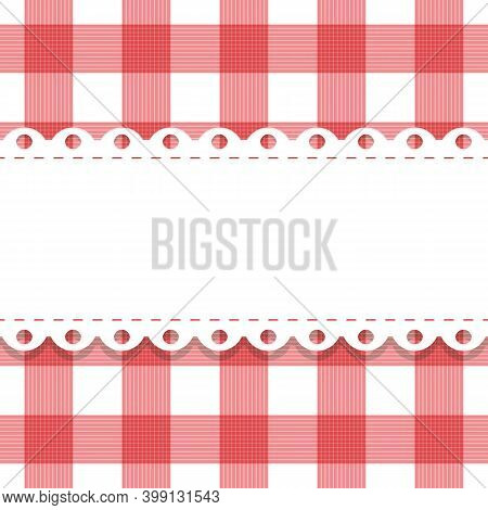 Vector Seamless Plaid, Checkered Pattern With Lacy Doily. Gingham Background And Frame With Scallop