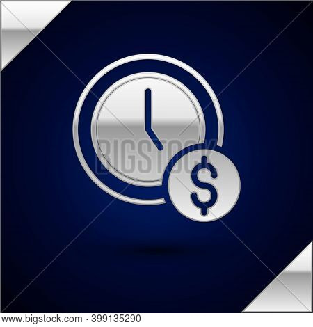 Silver Time Is Money Icon Isolated On Dark Blue Background. Money Is Time. Effective Time Management