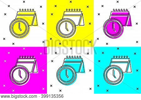 Set Calendar And Clock Icon Isolated On Color Background. Schedule, Appointment, Organizer, Timeshee