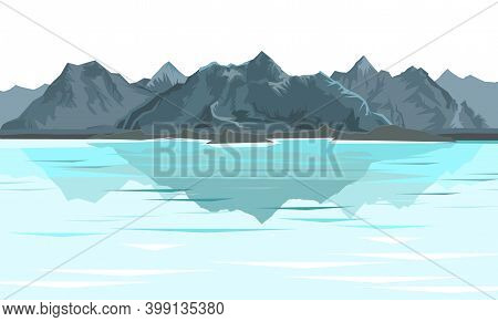 The Mountains. Mountain Range With Cliffs, Rocks And Peaks. Horizon. Landscape Isolsted On White Bac