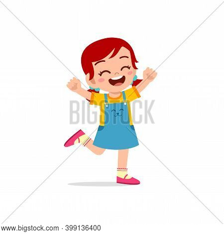 Cute Little Kid Girl Stand Happy Celebrating Pose Expression