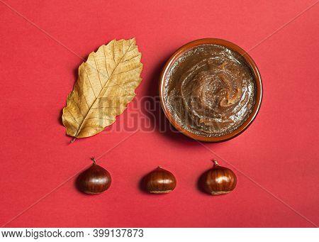 Chestnut Cream On A Red Background