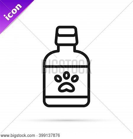Black Line Dog Medicine Bottle Icon Isolated On White Background. Container With Pills. Prescription