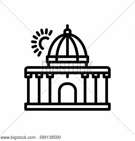 Black Line Icon For Supreme Highest Constitution Architecture Government Authority