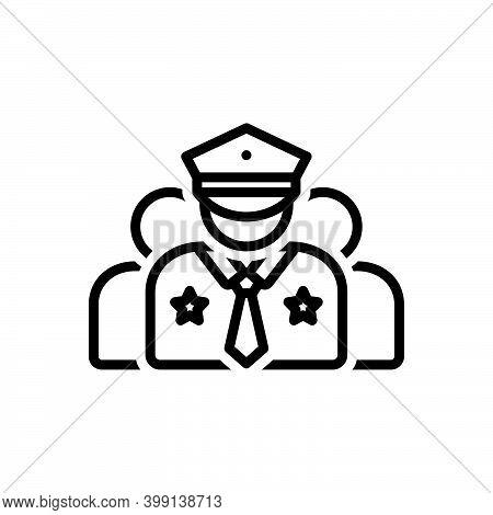 Black Line Icon For Crew Corps Team Gang Crew-member Captain Commander Police Man Policeman