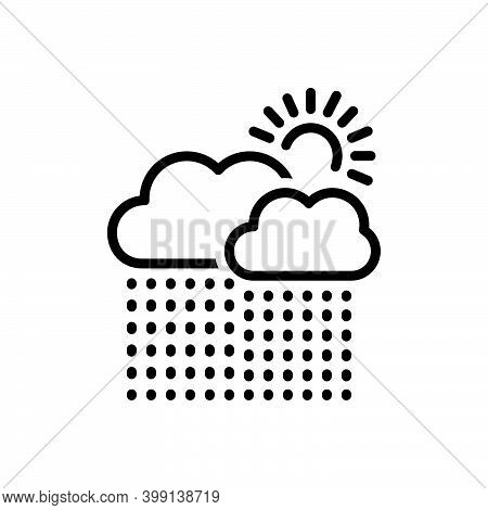 Black Line Icon For Currently Presently Sun Weather Cloud Rain Heavy-rainfall Downpour Disaster Mons