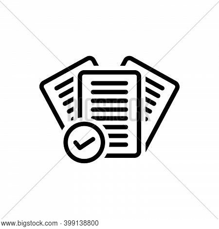 Black Line Icon For Right Correct Mark Check Tick Agreement Approved Checklist Yes True