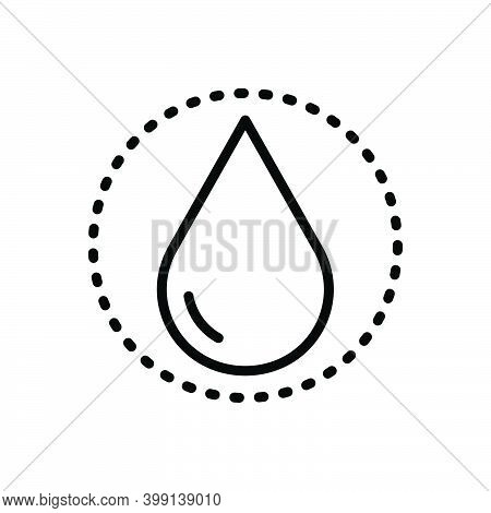 Black Line Icon For Drop Raindrop Liquid Pure Ripple Splash Aqua Droplet Water Oil Drinkable Fresh B