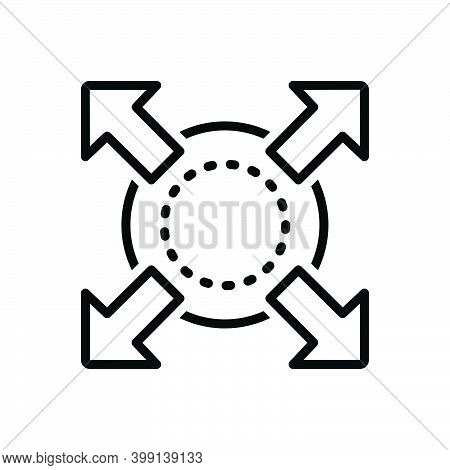Black Line Icon For Extend Expand Enlarge Compact Compress Distend Fullscreen Develop Widen Broaden