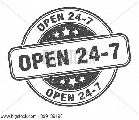 Open 24 7 Stamp. Open 24 7 Label. Round Grunge Sign