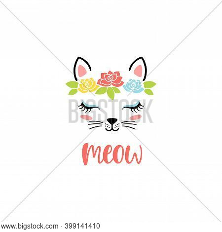 Hand Drawn Cute Cat Face With Text: Meow. Sketch Isolated Cartoon Illustration