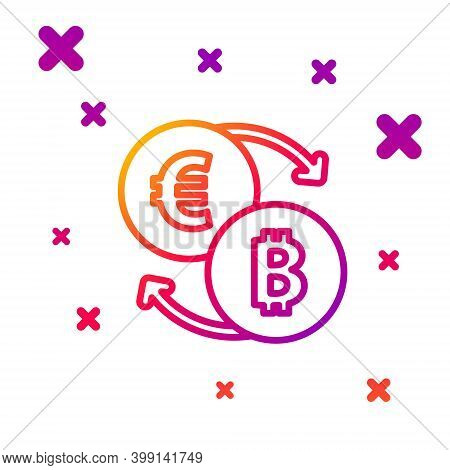 Color Line Cryptocurrency Exchange Icon Isolated On White Background. Bitcoin To Euro Exchange Icon.