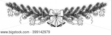 Christmas fir frame with bells, balls and ribbon isolated on white. Vintage engraving stylized drawing.