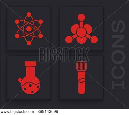 Set Test Tube And Flask Chemical, Atom, Bacteria And Test Tube And Flask Chemical Icon. Vector