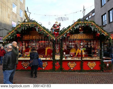 Hannover,germany-december 1: Almonds,cookies And Candies At   Christmas Market Weihnachtsmarkt. Dece