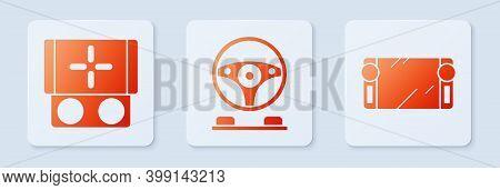 Set Racing Simulator Cockpit, Portable Video Game Console And Portable Video Game Console. White Squ