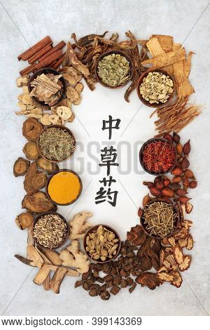 Chinese healing herb collection used in traditional herbal medicine with calligraphy script on rice paper with mottled grey background. Translation reads as chinese healing herbs. Top view.