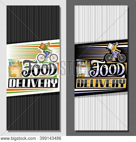 Vector Vertical Layouts For Food Delivery, Decorative Leaflet With Illustration Of Bag With Grocerie