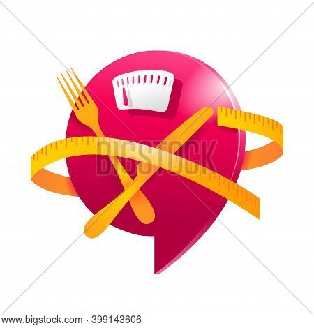 Low Cal And Healthy Nutrition 3d Icon - Weight Scales With Fork, Knife And Measuring Tape Around - P