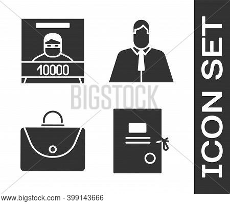 Set Lawsuit Paper, Wanted Poster, Briefcase And Lawyer, Attorney, Jurist Icon. Vector