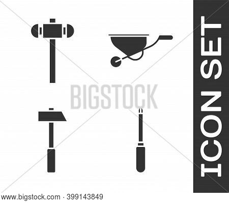 Set Screwdriver, Sledgehammer, Hammer And Wheelbarrow Icon. Vector