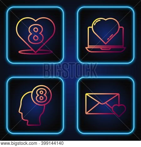 Set Line Envelope With 8 March, 8 March In Human Head, Heart With 8 March And Online Dating App And