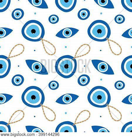 Turkish Blue Eye-shaped Amulets, Nazar Talismans, Charms And Dots Vector Cartoon Style Seamless Patt