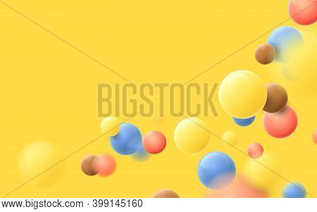 Abstract Multicolored Balls Flying Particles On A Yellow Background. Vector Illustration
