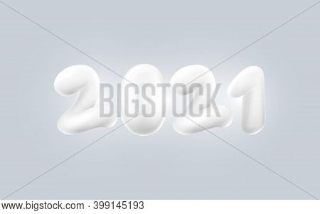 Happy New Year. Flying Abstract 3d White Number 2021. Greetings And Invitation Cards. Vector Illustr