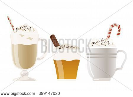 A Collection Of Hot Drinks That Are Often Drunk In Winter, Such As Apple Cider, Hot Chocolate With M