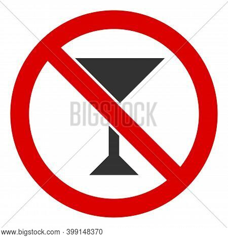 No Martini Icon. Illustration Style Is A Flat Iconic Symbol Inside Red Crossed Circle On A White Bac