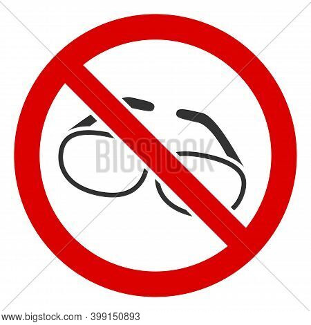 No Spectacles Icon. Illustration Style Is A Flat Iconic Symbol Inside Red Crossed Circle On A White