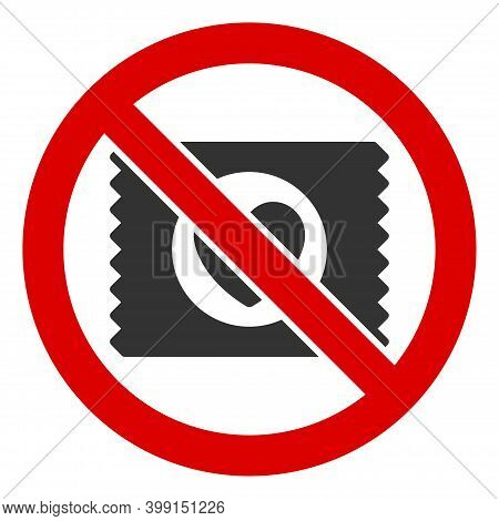 No Lovely Condom Icon. Illustration Style Is A Flat Iconic Symbol Inside Red Crossed Circle On A Whi