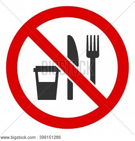 No Food Icon. Illustration Style Is A Flat Iconic Symbol Inside Red Crossed Circle On A White Backgr