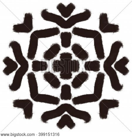 Black Charcoal Drawn Ethnic Tribal Print. Abstract Kaleidoscope Pattern Element For Surface And Text