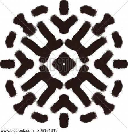 Black Charcoal Hand Drawn Print. Abstract Kaleidoscope Pattern Element For Surface And Textile Desig